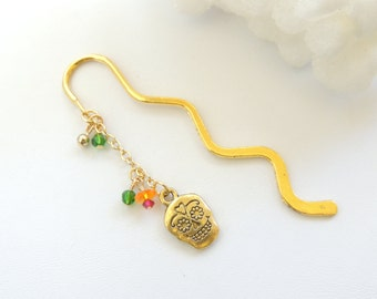 Day of the Dead Sugar Skull Bookmark, Gold Bookmark, Skull Bookmark, Handmade Bookmark, Shepherd's Hook Bookmark, Metal Bookmark. B299