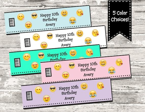 Emoji Birthday Party Water Bottle Labels Digital Printable By Design