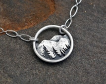 Mountain Trees Moon Landscape Necklace - Circle Nature Pendant - Sterling Silver Metalwork - Everyday Necklace