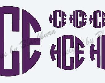 Cirlce Monogram Decal Set of Multiple Sizes