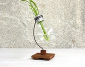 Beta, creative lightbulb holder upcycled bulb vase recycled dried plant wooden stand reclaimed holder flowers plant vases wood, Paladim