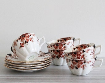 Set of 5 Vintage Hand Painted Tuscan China England 6470 Black, Brown, Burnt Sienna Imari Inspired Tea Cups and Saucers - Made in England