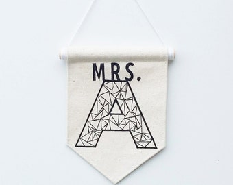 Wall Banner - Teachers gift - Initial Banner - wedding gift - Initial art - Customizable Banner - Wall hanging - Mr & Mrs