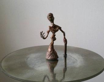 OOAK Sculpture unique Fine Art moveable joints alien borg Handmade Sci Fi android tech steam punk