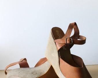 SALE - Vintage Rosellini Made in Spain Platform Leather 4 5/8 Inch Heels - Vintage Size 9