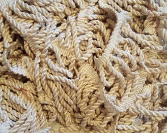Pillow Twisted Trim Fringe ~ Chunky ~ Light Cream Muslin Color ~ 13 yards