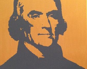 "Thomas Jefferson President Portrait Custom Pop Art Painting 16""x20"" Canvas"