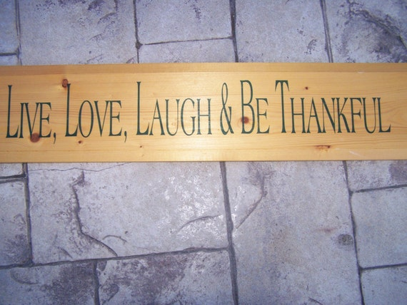 Vintage Wood Wedding Sign Thanks Live Love Laugh & Be Thankful Thanksgiving Present Gift Decoration hanging wall Mothers Day Home USA Made