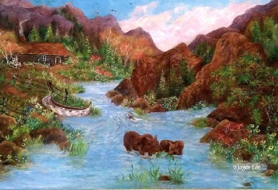 Early Mountain Homestead   16 X 20  Giclee Print By Douglas, Wyoming Artist Joyce Lee
