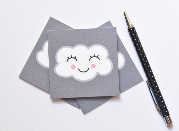 Cloud Mini Greeting Card, Happy Cloud, Blank Card, #makeforgood Fundraiser, 3x3 inch Square Card, Kids Party, Mini Thank You Card, Pack of 6