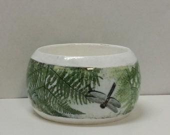 Handmade Decoupage Wood Bangle Bracelet-Dragonfly