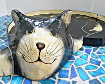 """Large Kitty Cat Tray,  Black and White Tuxedo Cat, Paper Mache Cat Tray, Red Ribbon, Curled Up Kitty, Serving Tray, Decorative Tray, 21""""x16"""""""