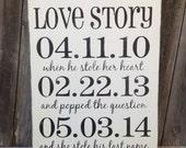 WEDDING Important Date Sign   Bridal Shower Gift   Love Story Shabby Chic Black & White   Engagement Gift   New Couple gift    Wedding Decor