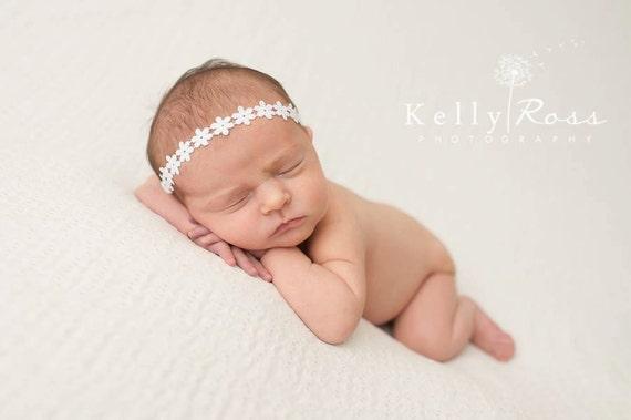 Halo Headband, White Baby Headband, Baby Headband, Baptism Headband, Christening Headband, White Headband