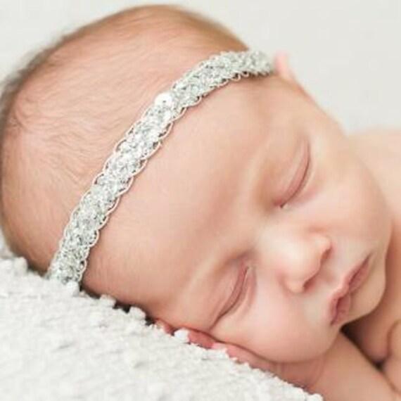 Sequin Baby Headband, Baby Headband, Silver Headband, Newborn Headband, Halo Headband, Headband for Babies, Girls Headband, Sequin Headpiece