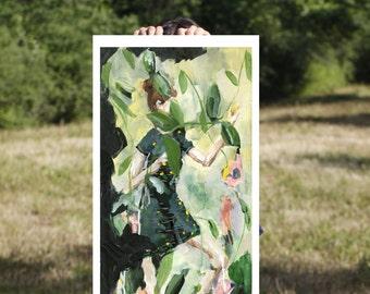 Botanical Art Print - The Jungle - Figure Painting, Large Wall art, Art Prints