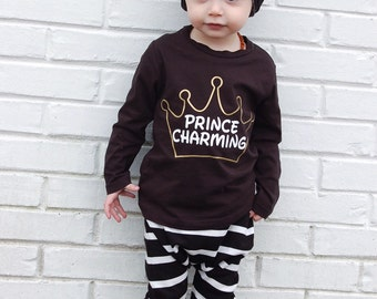 Prince Charming Crown Baby Toddler Boy bodysuit or T Shirt Tank Top