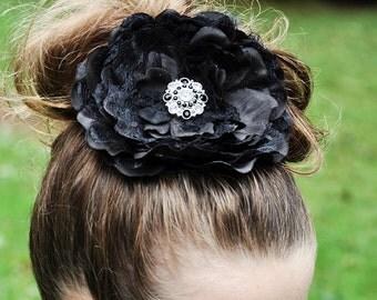 Huge black hair flower, black flower hair clip with rhinestone accents, black flower hair clip hair accessory