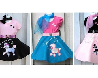 4 Piece Girls 50s Fifties Poodle Skirt Set Pageant Costume Choose Size,Color