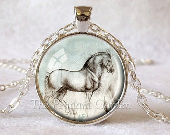 DA VINCI Horse Pendant Leonardo Da Vinci Necklace Aqua Rose Gray Horse Jewelry Horse Necklace Da Vinci Drawing Horse Art Gifts for Her 25mm