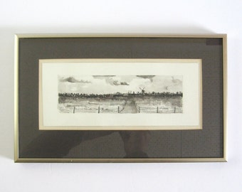 Vintage Dutch Landscape Painting - Windmill Painting - 13x8 Framed Watercolor Painting Black Ink Art - Panorama Landscape - Dutch Wall Decor
