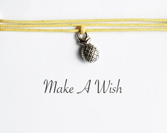 Make A Wish Pineapple Bracelet - Bohemian Jewellery, Friendship Bracelet, Boho Style, Fruit, Wishing Charm