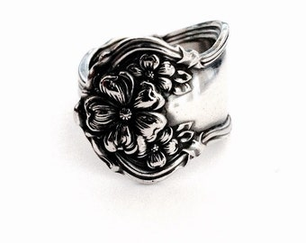 Antique Silver Spoon Ring circa 1908 - Handmade Spoon Jewelry - Silverware Jewelry