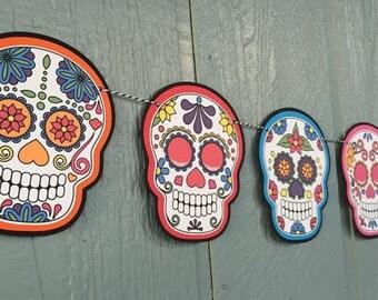 Sugar Skull Garland, 15 feet - Colorful Banner - Day Of The Dead - Día de Muertos - Halloween Decor, Parties, Birthdays, Special Events