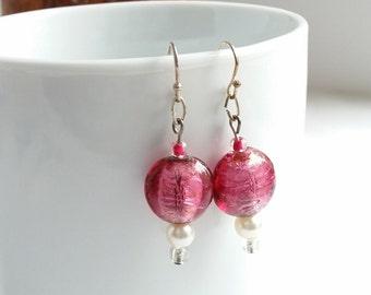 Pink Earrings, Pearls and Pink, Dangle Earrings, Silver Pink Earrings, Pink Foil Glass, Lampwork Glass Earrings, Gifts for Her, OOAK