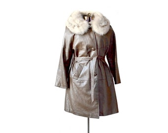 Brown Leather Jacket Womens Leather Coat Large Leather Coat Fur Trimmed Coat, Fur Collar Coat, Winter Coat, Vintage Coats, Vintage Clothing