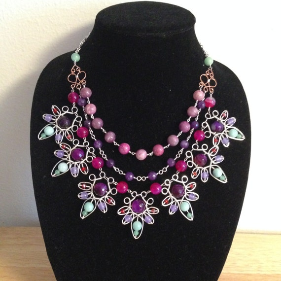 Beautiful Garden of Flowers Wire-Wrapped Statement Necklace