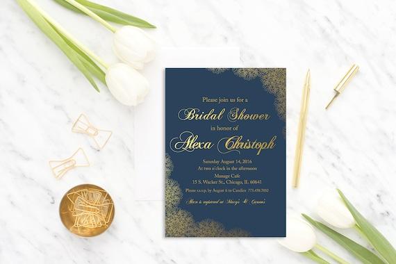 Navy Bridal Shower invitation Printable, Lace Bridal Invite, lingerie party invitation, modern, wedding shower, navy gold, digital, printed