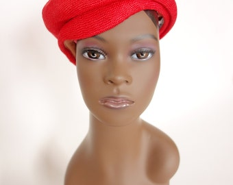 1950s red straw beret hat