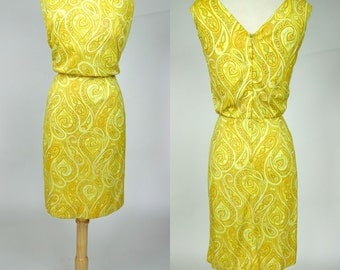 1960s yellow paisley dress, sleeveless mid century casual shift party dress, California Sophisticates, Large, size 10