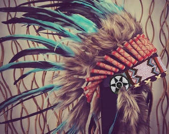 READY FOR HALLOWEEN . N55 Indian Light Blue / Turquoise and dark Feather Headdress / Warbonnet.