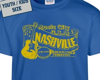 YOUTH / KIDS Nashville T Shirt Nashville Tennessee T Shirt Bluegrass T Shirt Banjo T Shirt Country Music T Shirt
