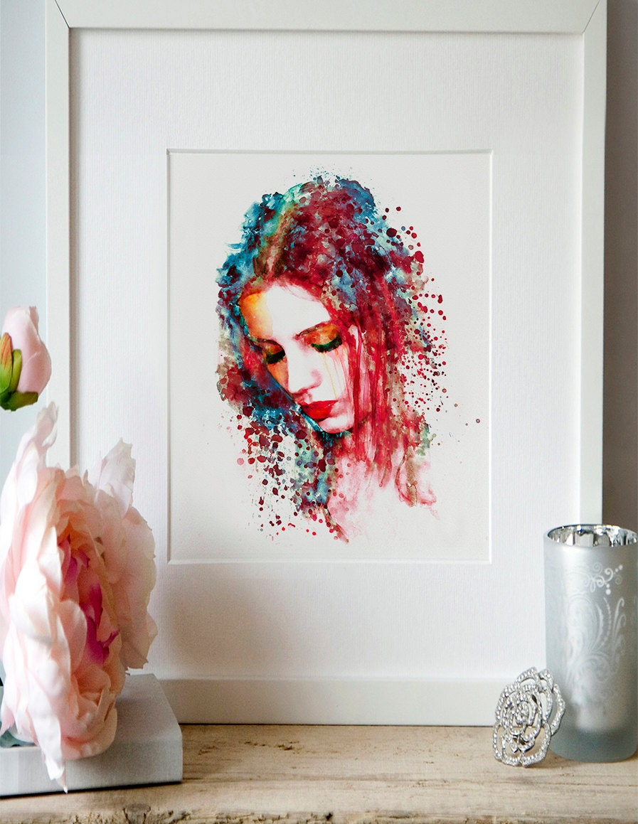 Watercolor Wall Art sad woman watercolor painting wall art girl illustration