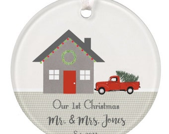 Personalized Christmas Ornament, Wedding, Housewarming Gift, Realtor Gift, First Home Ornament, Holiday Ornament, Ryelle, Ceramic Ornament