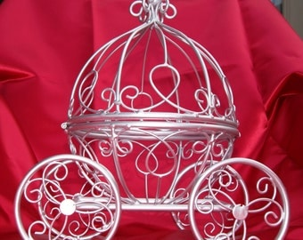 Silver Cinderella Pumpkin Carriage - Cute Princess- Great for a Little Girl's Room or a Wedding Table Centerpiece