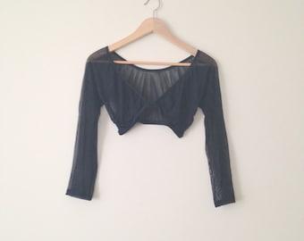 VINTAGE 1990s black mesh long sleeve lingerie deep v neck BRALETTE