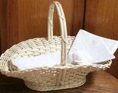 White Wicker Flower Basket, Shabby Chic Fruit Basket, Flower Girl, Wedding