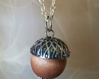Peter Pan / Wendy Acorn Kiss Necklace Fall Necklace