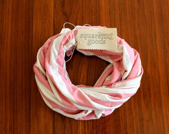 Jersey Infinity Scarf, Infinity Scarf, Pink Infinity Scarf, Striped infinity scarf, stretch infinity scarf