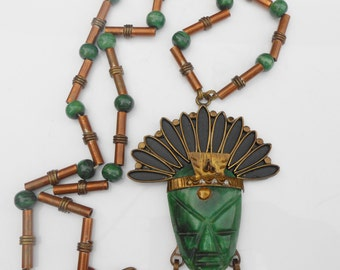 Copper Malachite Tribal Mexican Aztec Mayan Pendant Necklace Mexico Huge Statement Piece