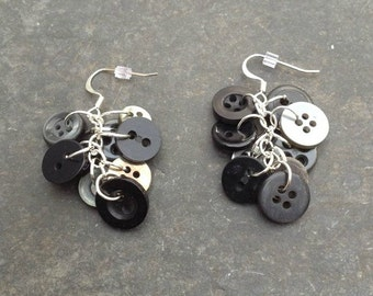 Black Button Earrings; Vintage Buttons, Button Earrings, Modern, and Antique Button Blend, Chainmaille