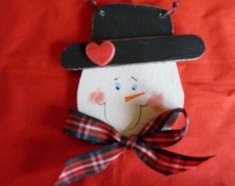 Christmas Wooden Snowman Ornament