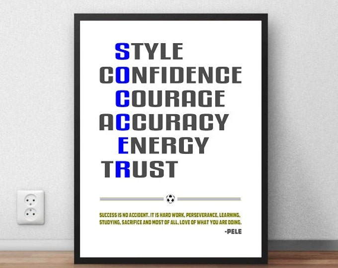 "Custom ""Soccer"" Motivational Typography Print"