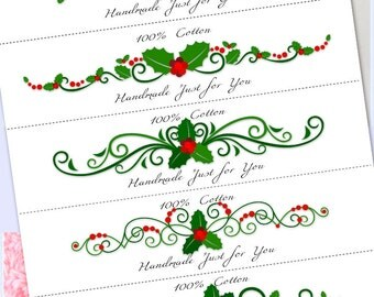 Washcloth, Dishcloth label wraps, wrappers, Christmas Holly, instant download