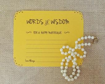 Words of Wisdom Advice Cards in Golden Yellow-Weddings, Showers, Anniversaries-Set of 10