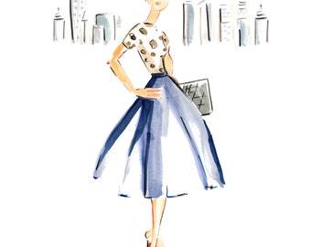 New York Fashonista - Printable Art - Digital Art - Clip Art  - Fashion Illustration - Fashion Art  - Stationery - City Girl - Glamour
